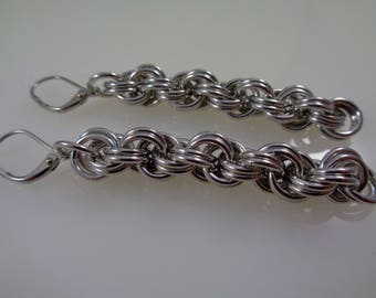Silver Double Spiral Chainmail Earrings, Aluminum Chainmaille Earrings, Chain Maille Earrings, Silver Chain Mail Earrings
