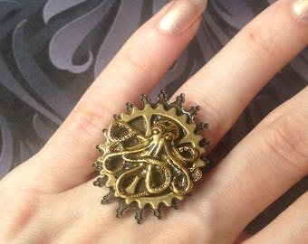 Ring adjustable gold Octopus