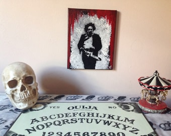 Red and black leatherface texas chainsaw massacre horror acrylic painting/ horror wall art/ horror wall decor/ slasher