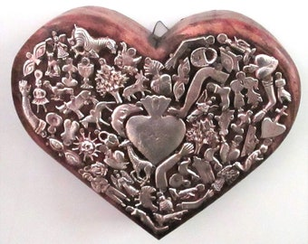 Milagros Heart, Mexican Milagro Charms, Ex Voto, Sacred Heart, 5th Anniversary Gift, Wood Anniversary, Wedding Gift, Gift for Mom