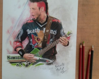 ORIGINAL - hand drawn charcoal pencil drawing - Jason Hook - FFDP - Five Finger Death Punch - Size A3