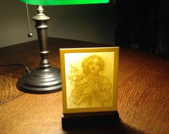 Engraved Alphonse Mucha Sketch Lithophane