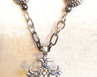 Antique Silver Cross Long Necklace - The Golgotha