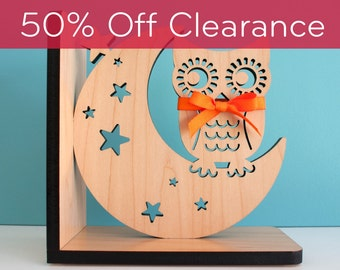 Wood Nursery Animal Bookend: Woodland Night Owl Baby, Kids Wooden Forest Room Decor