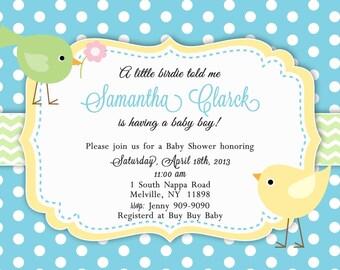 Little Birdie Baby Shower Invitation