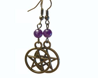 Semi precious gemstone bronze pentacle earrings, pagan earrings, wiccan earrings, gemstone earrings