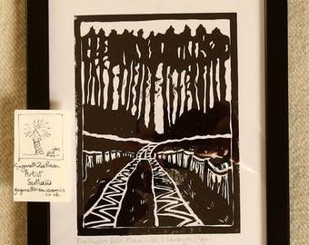 handmade linocut print Pine Shelter Belt