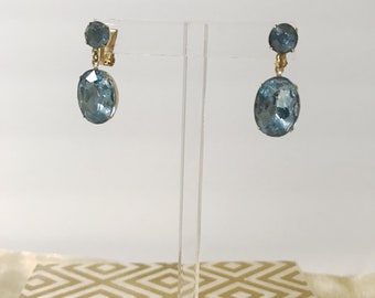 Vintage Blue Rhinestone Drop 70's Earrings
