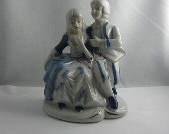Enchanting, old porcelain figure: Baroque scenery. DELFT BLUE. Handpainted. Approximately 16 cm high. VINTAGE