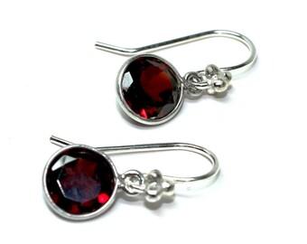 Earrings garnet, Sterling Silver, modern, minimalist, contemporary style, elegant, tiny, small, dangle, elegant, red, boho,- Free shipping
