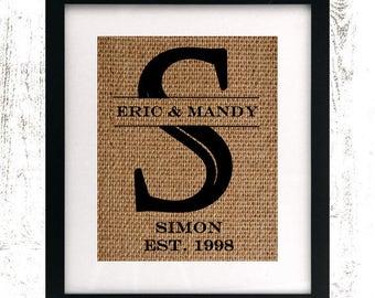 Family Name Print - Last Name - Wedding Gift - Family Established Sign - Printable Custom Sign - Burlap Monogram Print