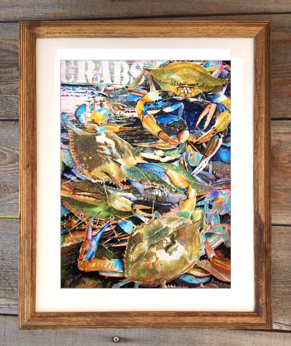 18x22 Live Blue Crabs Art Framed And Matted