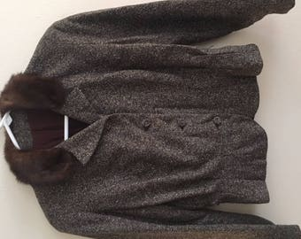 50s Fur Trimmed Blazer Brown