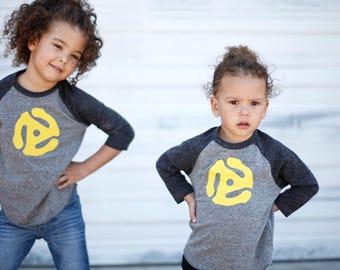 Kids Record Shirt, 45 Adapter Music Tshirt, Music Gift, Unisex Boy or Girl, Baby, Toddler, Youth, Graphic Tee Children, Music Lover Gift