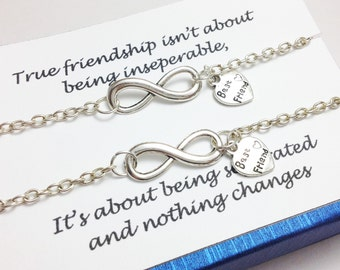 set of 2 infinity bracelet - BFF bracelet - best friend bracelet - friendship bracelet - girlfriend gift - birthday
