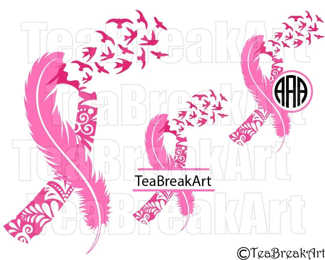 breast cancer awareness zentangle feather bird flying frame