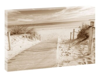Way to beach picture Beach sea Wedge Frame Canvas Poster XXL 120 cm * 80 cm 624 Sepia