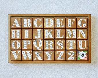 a b c d alphabet set in classic white + daisy on red cedar