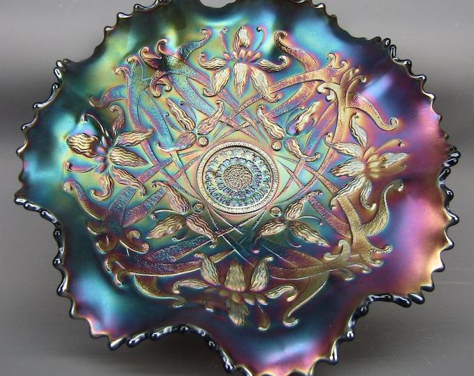 "Northwood Amethyst Carnival Glass WISHBONE Ruffled 9"" Footed Bowl"