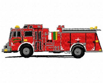 Fire Truck Machine Embroidery Design - Instant Download