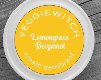 Lemongrass Bergamot - Veggiewitch Cream Deodorant - All Natural - Vegan & Organic