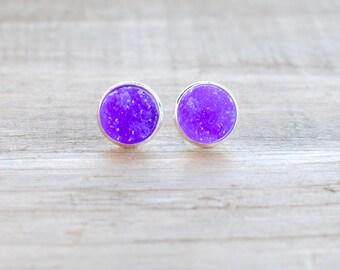 Violet Druzy Earrings. Silver Setting. Bridesmaids Earrings.