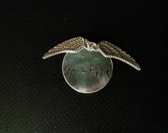 Castiel handstamped pendant