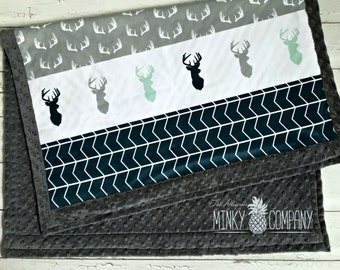 Minky Baby Blanket - Geo Deer Faux Quilt - Grey