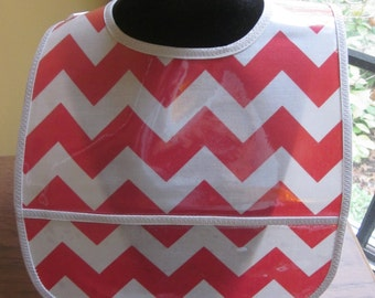 WATERPROOF WIPEABLE Baby to Toddler Plastic Coated Bib Red and Gray Chevron Ohio State Colors