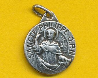 Antique Sterling Silver Religious Medal charm pendant Saint Philip - St Philippe  (ref 0533)