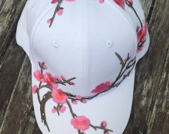 White Floral Patch Baseball Cap