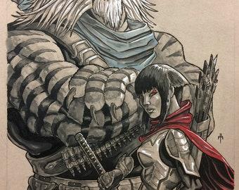 TMNT Teenage Mutant Ninja Turtle Tiger Claw and Karai Portrait Original Artwork