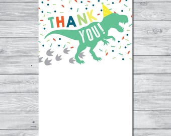 Dinosaur Thank You Card, Instant Download Thank You Card, Printable Thank You Card