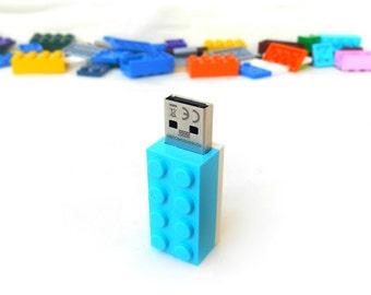 Lego usb flash drive 16GB USB - Memory Stick -  Lego® original usb Brick - Lego® 2x4 Brick - Lego® usb Turquoise white -Duo Color bricks usb