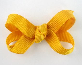 Baby Hair Bow in Mustard Yellow - Extra Small Boutique Bow On Mini Snap Clip for Fine Hair Newborn to Toddler - Non Slip Barrette mm