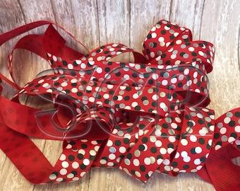 Red Grosgrain Ribbon, Polka Dot Confetti Dot Ribbon, 7/8 Ribbon by the yard, US designed ribbon, Hair Bow Ribbon, Printed Ribbon, Hair bow