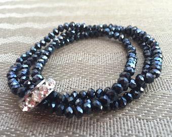 Beaded Bracelet, Crystal Beads Bracelet, Multi Strand Bracelet, Stretch Bracelet, Elegant Bracelet, Seed Bead Bracelet, Gift for Her