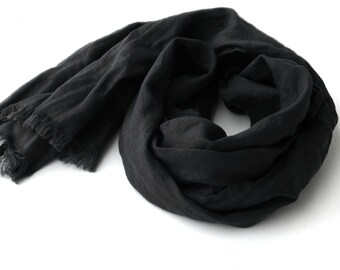 dark grey pure linen scarf for men and women