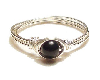 Onyx Silver Wire Ring, SilverWire Wrapped Ring, Black Onyx Silver Ring, Custom Sized Black Stone Ring