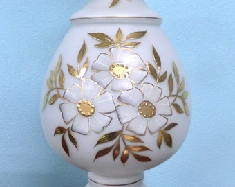 Vintage White Satin Glass Table Lamp/Bohemian Mid Century Gold Floral Design/Brass/Hollywood Regency