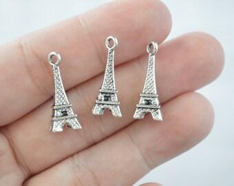 10 Pcs Eiffel Tower Charms Pendants Antique Silver Tone 3D 9x23mm - YD0762