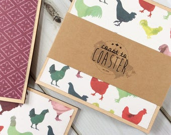 Farmhouse Gift, Farmhouse Kitchen, Farmhouse Coasters, Chicken Gift, Chicken Coasters, Chicken Kitchen, Purple Farmhouse, Gift for Farmer