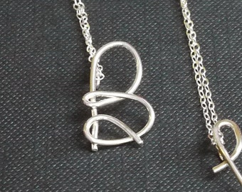 Sterling Silver Handmade Initial Pendant Necklaces - by I Heart This