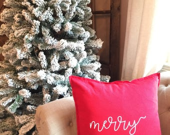 Christmas pillow cover - Merry Pillow Cover - Christmas Gift Pillow Cover - Christmas Trees Pillow  - Pine Trees Pillow