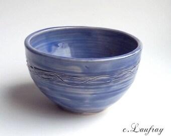 Original pottery Bowl blue cobalt, engraving
