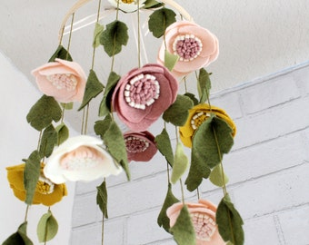 Baby Girl Mobile Nursery Decor Enchanting Wool Felt Anemone Floral Bloom Baby Mobile Woodland Whimsical Crib Bohomian