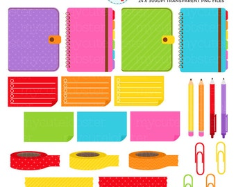 Rainbow Planner Supplies Clipart Set - paperclips, pens, washi tape, planners, notes - personal use, small commercial use, instant download
