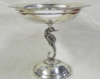 Sterling Silver Seahorse Pedestal Candy or Nut Dish