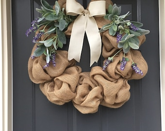 Lavender and Lamb's Ear Wreath