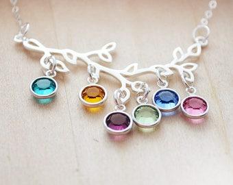 Birthstone Necklace For Mom Grandma - Tree of Life Necklace - Family Tree Jewelry Silver Tree of Life Necklace - Christmas Jewelry for Mom